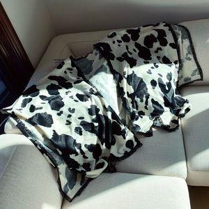 Wavey n Lacey cow print light blanket scarf